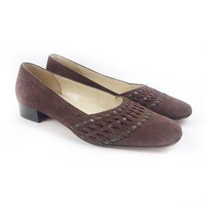SALVATORE FERRAGAMO | Brown Suede Square Heel 5.5B